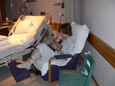 Joshua playing guitar in hospital