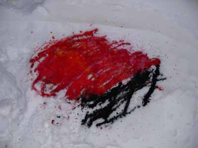 Dye on snow