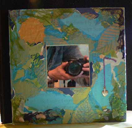 Mixed Media Mirror with leaf print tissue
