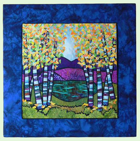 Birch Pond, on blue batik over stretcher bars