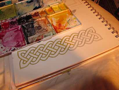 Celtic knotwork from the lesson, with just the outer edge painted in a yellow-new Gamboge color.  Will finish maybe tonight?