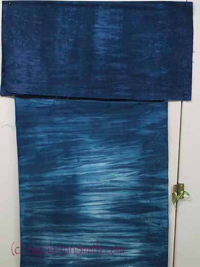 This photo shows cotton on top (overdyed) and silk on the bottom.