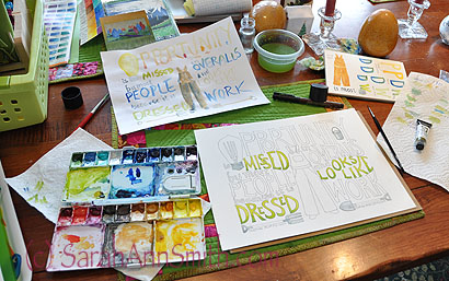 Decorated Watercolor Lettering with Val Webb.  Working away at the dining room table.  I even managed to NOT blotch and drip or smudge! And I'm happy I was able to lift the color on the knees to make the fabric look faded and worn by work.