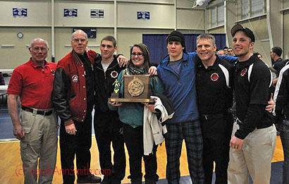 The coaches and this year's graduation seniors, from L to R:  Paul Smith and Perry Goodspeed (assistant coaches), Calan Bragg (132-lb and newly minted State Champion), Tia Silverio (Team Manager), Coleman Powers (154-lb and newly minted State Champion), Coach Patrick Kelly and Asst. Coach True Bragg (cousin to Calan)