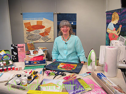 On the set at Interweave in Loveland, Colorado, to film a Quilting Arts Workshop! (Who me?!!!!)
