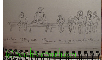 A  VERY quick sketch--less than 10 minutes--of some kids and one adult on a bench late in the afternoon