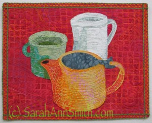 Tea with Milk, published in the recent Quilting Arts Coffee or Tea?  Challenge.  Of course the answer is tea!  From the time I was in grade school, my Irish-American papa fixed me tea for breakfast.  Still have my cuppa daily!