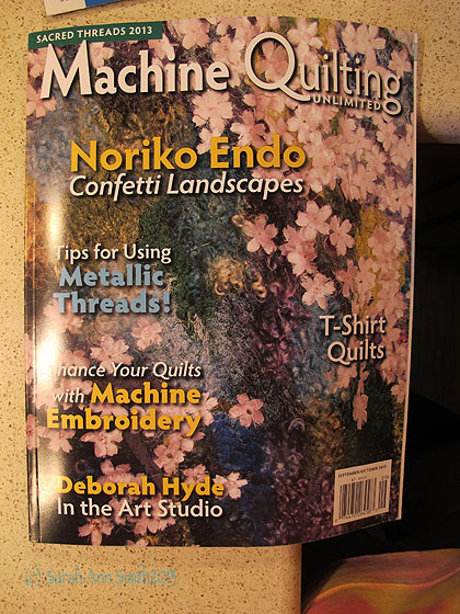Machine Quilting Unlimited...notice the Metallic Threads on the left, that's my article!  WOOT!