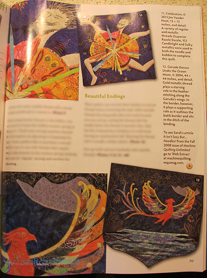 Here's the last page of the article with Jim VanderNoot's quilt on the top--love his sense of whimsy and UBER LOVE his quilting.  That's my Garuda Dances Under the Ocean Moon on the bottom, made with Princess Mirah Bali batik fabrics.