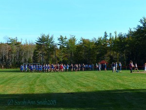Looking towards the starting line as the gun sounds for the boys' race.