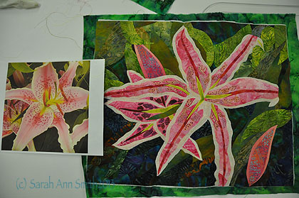 Fused applique lily, in progress