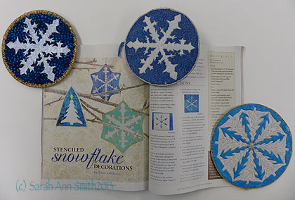 My project in the Quilting Arts Gifts 2013-14 issue is Stenciled Ornaments.