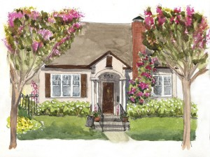 Diane's ink and watercolor sketch of a home near her in northern California