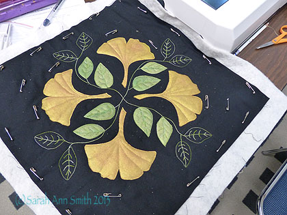Another set of gingko leaves, this time on the diagonals, partially quilted.