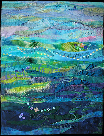 Blue Ocean, Turquoise Sea, by Daphne Greig.  It is no surprise that I love this quilt--the colors are SO me, but they are also so representative of the Pacific Northwest and Western Canada.