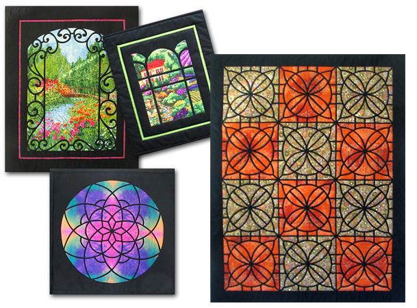 Daphne also has a book on stained glass window quilts.  The two on the top left look so much like the lush gardens you find on Vancouver Island!