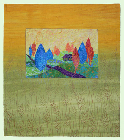 Fields of Gold by Sarah Smith, made with fabric by Lisa Walton.  This quilt went missing when a private exhibit curator lost it in autumn 2011.