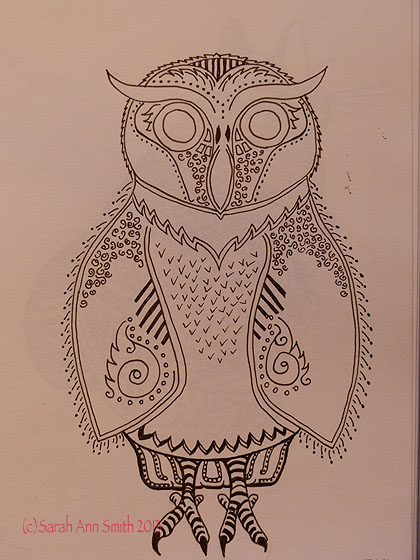 I like the owl, sort of.  The bottom tail feathers and feet are too dark compared to the rest, but I rather like his eyebrows and the blank spaces.  Initially I thought I would fill him in completely like the cat, but I like the quiet spaces.