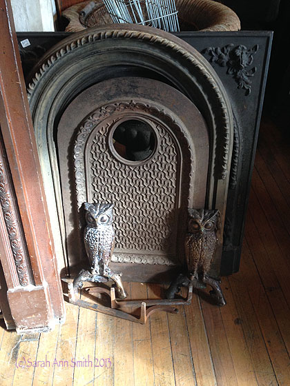 At Portland Architectural Salvage I saw this fireplace piece with the owl andirons and had to take a picture for Jacquie, who loves owls!  (Waving over to Vermont!)