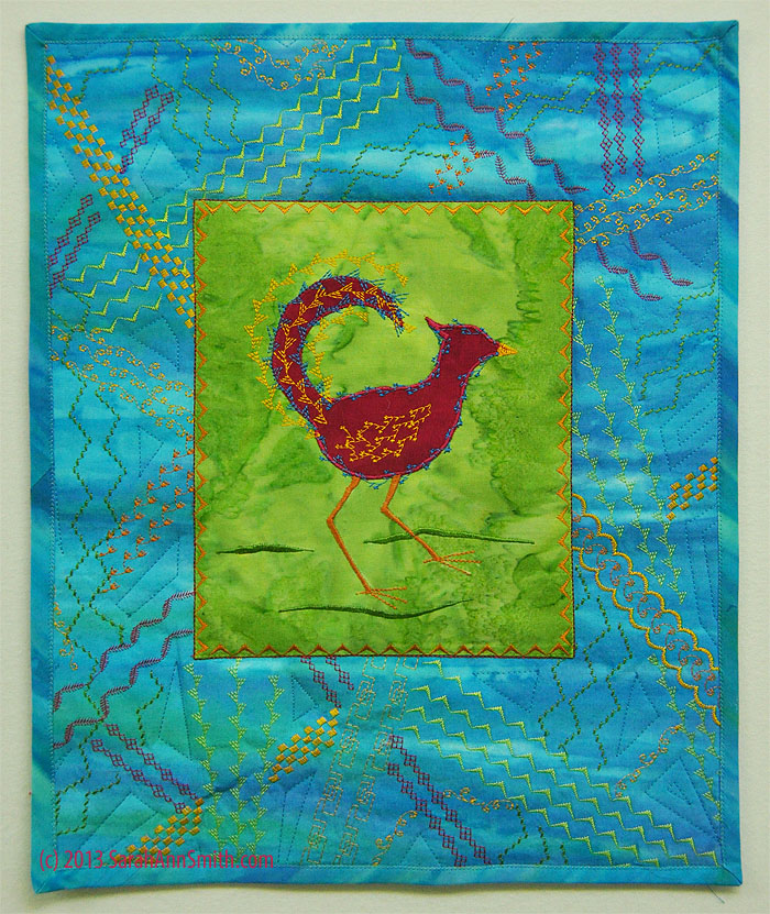 The Funky Chicken, from Sarah's Decorative Stitch Applique class in Houston