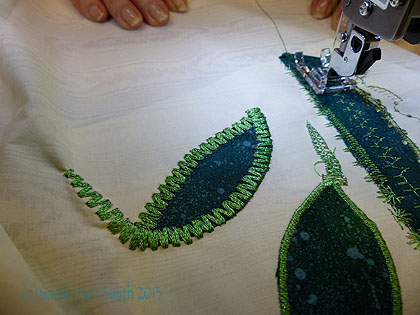 This student tried a very bold, wide multi-stitch zigzag.