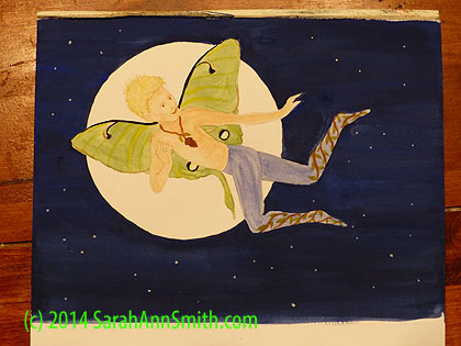 My Luna-Boy faerie in gouache, about 9 x 6 inches.