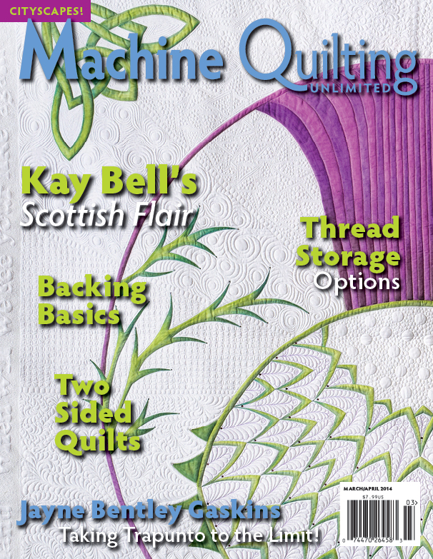 Machine Quilting Unlimited March/April Issue with my article on dust along with other great articles.  LOVED the one by fellow-Mainer Margaret Solomon Gunn on scalloped bindings and one on Jenny Bowker's quilts.