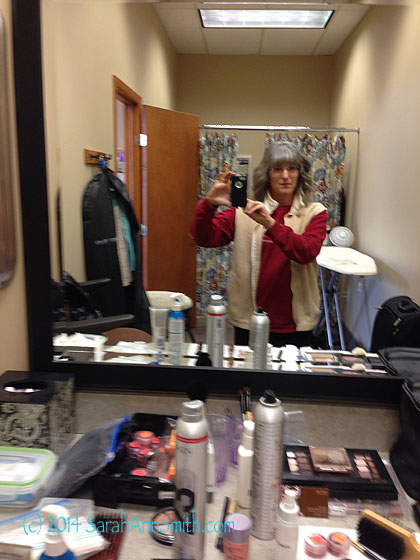TV lights do weird things to make up, so when taping for TV or a DVD workshop, a professional comes in to do your make up so you look good on camera.  Thank you Sue, because you succeeded!  Here I am taking a sorta blurry selfie after Sue worked her magic at the make-up/hair station.