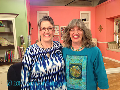With Susan Brubaker Knapp, the new host of Quilting Arts TV,on the set (you can see the top edge of the set in the background)!