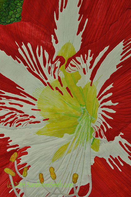 Amaryllis, detail, by Sarah Ann Smith (C) 2014.  See the Living Colour Exhibit at http://livingcolourtextiles.com/