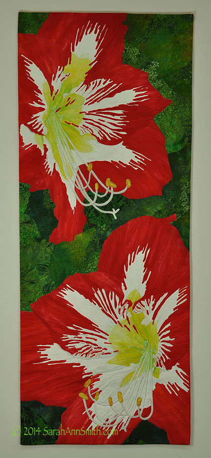 Amaryllis by Sarah Ann Smith (C) 2014.  See the Living Colour Exhibit at http://livingcolourtextiles.com/