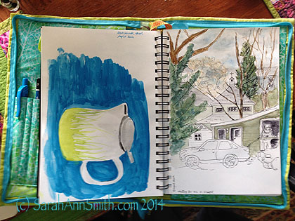 My rudimentary watercolor, form the first two lessons at Danny Gregory's Sketchbook Skool. Pen and ink with watercolor.  The heavier usage on the left ripples a bit, but I'm ok with that.  And I could, quite honestly, iron it flatter if I wanted to!