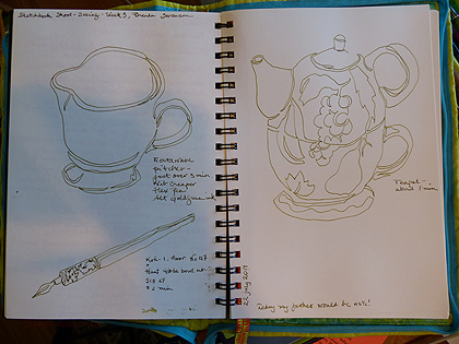 Timed contour sketches of fiestaware pitcher, tea-for-one teapot/but from my friend Marie many years ago, and a bottle of deAtramentis Roses scentted ink (heavenly color AND scent, also from Goulet Pens).  I used R&K Alt Goldgrun in my fountain pen.