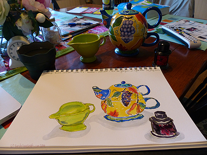 Here's the in progress, with the items behind the sketchbook on a dining table that I should have tidied before the photo but of course did not.  Truth in blogging.....