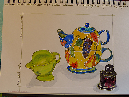 The completed sketch by me--contour drawing with fountain pen with non-waterproof ink and watercolor.