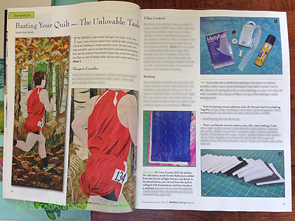 My article on Basting in the Sept/Oct 2014 issue of Machine Quilting Unlimited