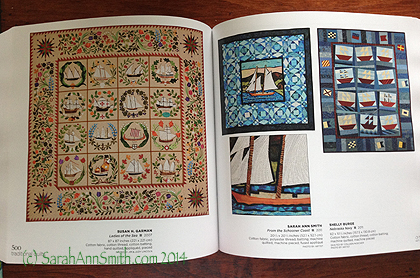 The theme for this spread is clearly sailing ships.  Mine is the blue one in the middle, with a detail of the quilting no less!  This quilt is called From The Schooner Coast.