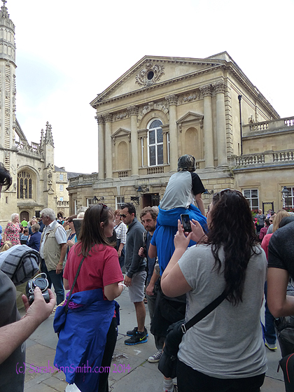 We then walked down the hill through town to the Roman Baths.  The building on the other side of the horde of tourists is the Roman baths.