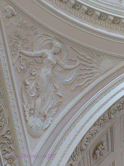 """One of the triangular panels beneath the dome--just love the artwork, the """"fit the space"""" composition, the delicacy of the lines of the figure"""