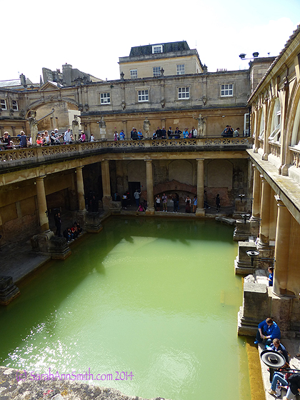 Drum roll:  the Roman Baths.  A tad green, eh?  But folks have gone to take the waters and regain health in Bath for nigh on to 1700 years.  And The US of A  is scarcely 300 years including many colonial days...