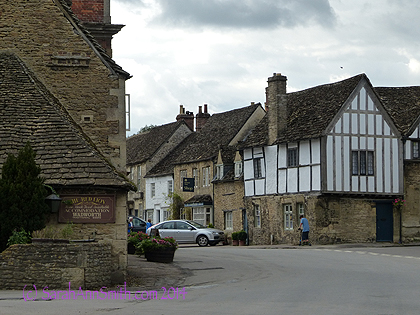 An intersection in Lacock; these homes are still lived in, with wiring and plumbing added 500+ years after they were built!
