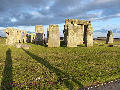 On the perimeter path at Stonehenge at about 7 pm