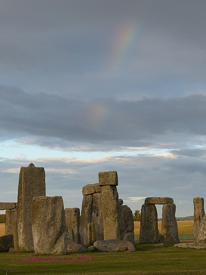 I moved a bit around the path so that it looks like the end of the rainbow is in the middle of the stone.  Just looking at this I am transported to the cool evening air, the rustling of the strong breeze....