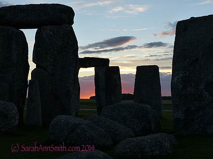 Sunset, again, at Stonehenge, August 2014.