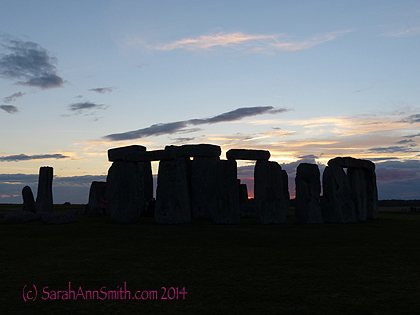 Sunset at Stonehenge, August 13, 2014.   SIGH.  Contentment.