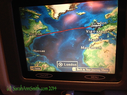 I LOVE the in-flight maps.  Here you can see the big picture, from Boston to London.  I was tickled to see Vigo, Spain.  I'd not heard of it before recently, but a classmate in the Sketchbook Skool has shared some of his drawings of Vigo.  Fun to see it on the map!