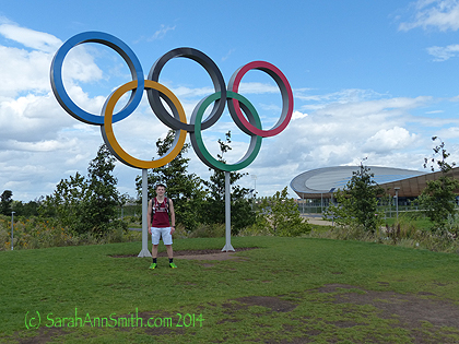 Eli under the Olympic rings after his run.