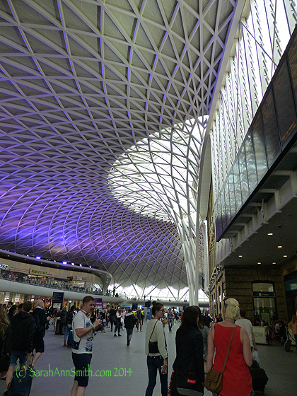 The new part of King's Cross station.  Both the Tube and rail lines come in here.  King's Cross is the departure points for points north, like York, Leeds, Edinburgh and the fictional Hogwarts.  Thank you to J.K. Rowling for giving such a wonderful world to all of us!