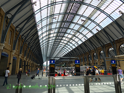 King's Cross Station, site of the somewhat-imaginary Platform 9 3/4 of Harry Potter/Hogwarts fame.