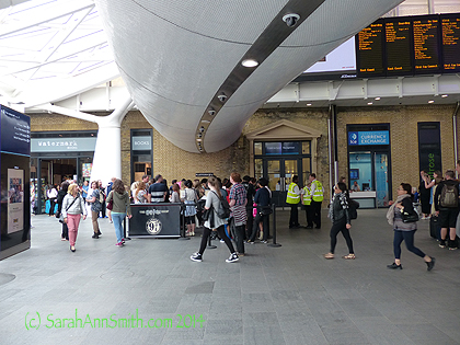 Platform 9 3/4 is under that white tube thingy, on the other side the crowd waiting to take pics.